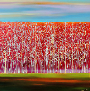 Trees on Red by Mary Johnston (Oil Painting)