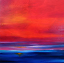 Red Sky Over Water by Mary Johnston (Oil Painting)