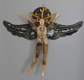 Copper Vine Angel by Elizabeth Frank (Wood Wall Sculpture)