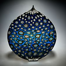 Aqua and Gold Ellipse by David Patchen (Art Glass Sculpture)