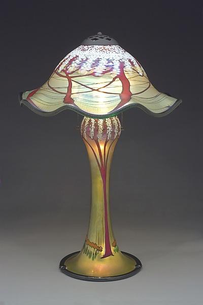Magnum Cherry Blossom Lamp Ruffled By Carl Radke Art Glass Table