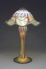 Magnum Cherry Blossom Lamp Ruffled by Carl Radke (Art Glass Table Lamp)