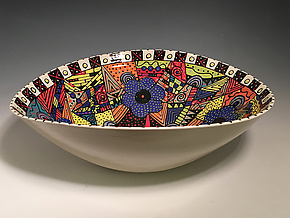 Intricate Five-Flowered Elliptical Bowl by Jean Elton (Ceramic Bowl)