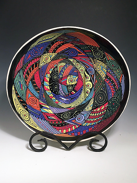 Elliptical Bowl with Multicolor Swirl