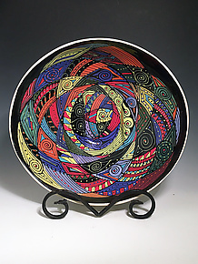 Elliptical Bowl with Multicolor Swirl by Jean Elton (Ceramic Bowl)