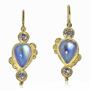 Pear-Shaped Moonstone Earrings by Rona Fisher (Gold & Stone Earrings)