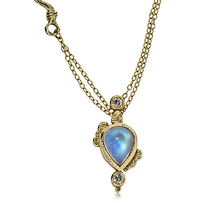 Pear-Shaped Moonstone Pendant by Rona Fisher (Gold & Stone Necklace)