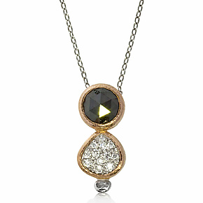 Vertical Black Diamond Duo Pendant by Rona Fisher (Gold, Palladium & Stone Necklace)
