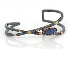 Criss-Cross Cuff Bracelet with Oval Labradorite by Rona Fisher (Gold, Silver & Stone Bracelet)