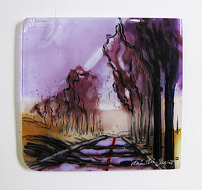 Sunday Road by Alice Benvie Gebhart (Art Glass Wall Sculpture)
