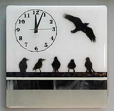 Flock of Birds Timepiece by Alice Benvie Gebhart (Art Glass Clock)