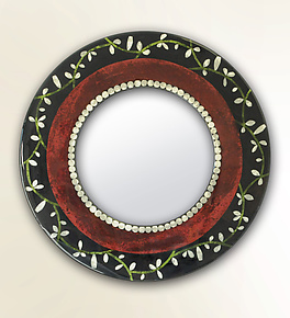 Round Bella Bella Mirror by Lara Moore (Mixed-Media Mirror)
