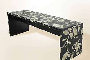 Mother of Pearl Tapestry Bench by Lara Moore (Mixed-Media Bench)