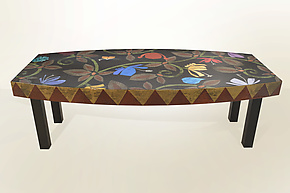 Bella Bella Boat-Shaped Tapestry Coffee Table by Lara Moore (Mixed-Media Coffee Table)