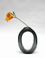 Tall Loop Vase in Gray by Nanda Soderberg (Art Glass Vase)