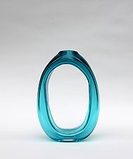 Tall Loop Vase in Teal by Nanda Soderberg (Art Glass Vase)