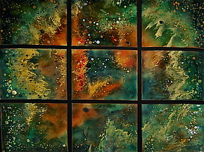 Orion's Rose in Nine Panels by Cynthia Miller (Art Glass Wall Sculpture)