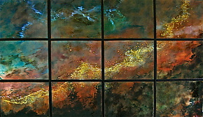New Swan Nebula in Twelve Panels by Cynthia Miller (Art Glass Wall Sculpture)