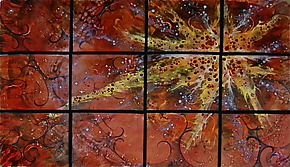 Sunstar in Twelve Panels by Cynthia Miller (Art Glass Wall Sculpture)