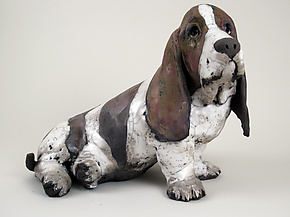 Basset Hound by Ronnie Gould (Ceramic Sculpture)