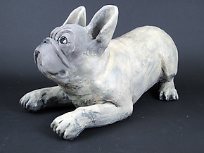 Playful Frenchie by Ronnie Gould (Ceramic Sculpture)