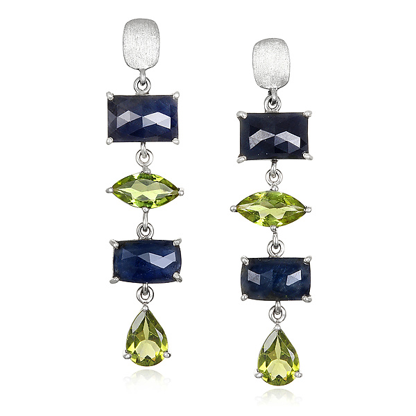 Blue Sapphire, Peridot, and Sterling Drop Earrings