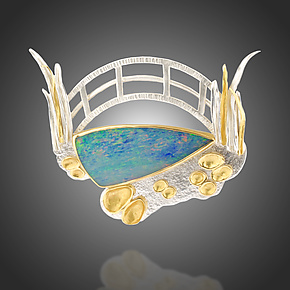 Opal Water Lilies Brooch by Renee Ford (Gold, Silver & Stone Brooch)