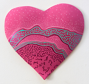 Pink Heart by Byron Williamson (Ceramic Wall Sculpture)