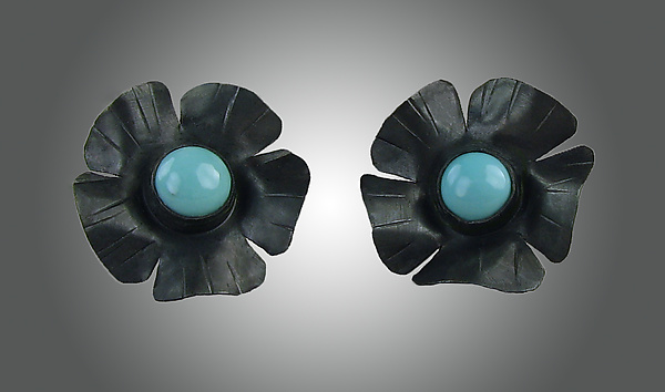 Black Flowers with Turquoise