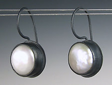Basic Pearl Drops in Oxidized Silver by Julie Long Gallegos (Silver & Pearl Earrings)