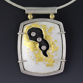 Golden Cavern Pendant by Jennifer Park (Enameled Necklace)