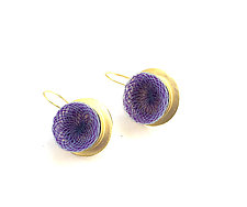 Gold Whirlpool Drop Earrings Purple by Michal Lando (Nylon Earrings)