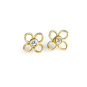 Square Filigree Diamond Studs by Katie Carder (Gold & Stone Earrings)