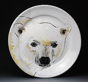 Polar Bear Platter by Eileen de Rosas (Ceramic Platter)