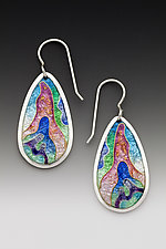 Rainbow Teardrop Earrings by Anna Tai (Enameled Earrings)