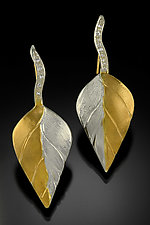 Leaf Earrings by Rosario Garcia (Gold, Silver & Stone Earrings)