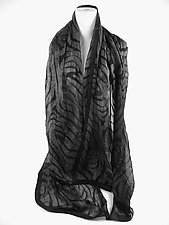 Zebra Scarf in Black by Yuh  Okano (Silk Scarf)