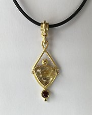 Trillion Pendant Drop with Garnet by Ilene Schwartz (Gold & Stone Necklace)