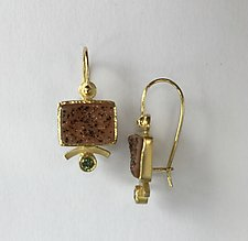 Underline Drusy Drops with Green Sapphire by Ilene Schwartz (Gold & Stone Earrings)