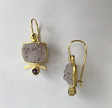 Underline Drusy Drops with Amethyst by Ilene Schwartz (Gold & Stone Earrings)