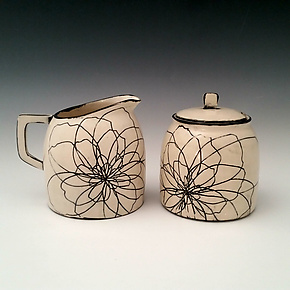 Peony Sugar and Creamer Set by Whitney Smith (Ceramic Serving Pieces)
