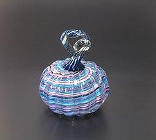 Venetian Style Cane Pumpkin in Pastel by Avolie Glass (Art Glass Sculpture)