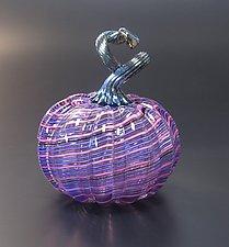 Venetian Style Cane Pumpkin in Purple by Avolie Glass (Art Glass Sculpture)