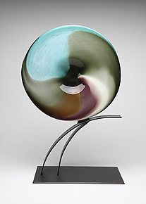 Satsuma Plum Volo by Janet Nicholson and Rick Nicholson (Art Glass Sculpture)