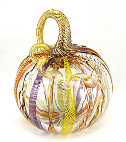 Medium Latticino Cane Pumpkin by Ken Hanson and Ingrid Hanson (Art Glass Sculpture)