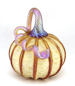 Saffron and Cinnamon Pumpkin by Ken Hanson and Ingrid Hanson (Art Glass Sculpture)