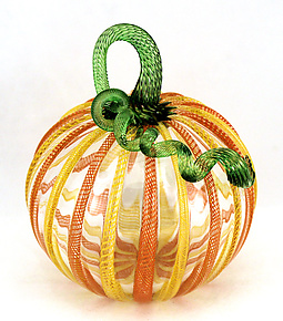 Orange and Yellow Latticino Pumpkin by Ken Hanson and Ingrid Hanson (Art Glass Sculpture)