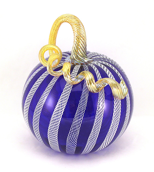 Cobalt Pumpkin with White Latticino Cane