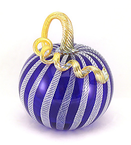Cobalt Pumpkin with White Latticino Cane by Ken Hanson and Ingrid Hanson (Art Glass Sculpture)
