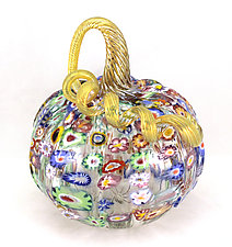 Impressionist Pumpkin by Ken Hanson and Ingrid Hanson (Art Glass Sculpture)